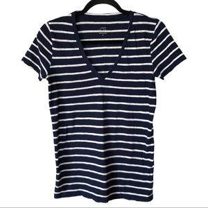 J. CREW Vintage Cotton V-Neck T-Shirt in Stripe